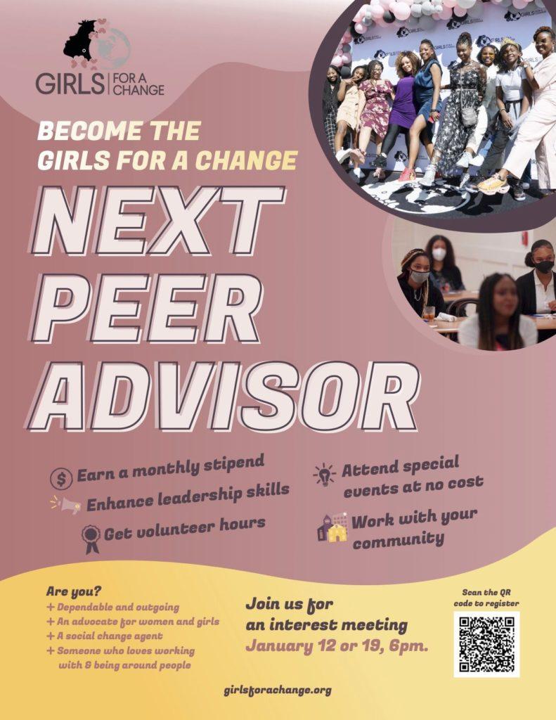 Girls for a Change, Girl Ambassador Program, Peer Advisor