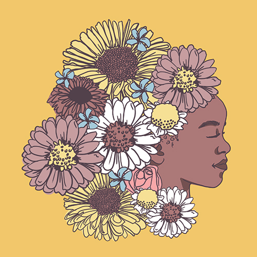 Flower bunch with Black girl's face