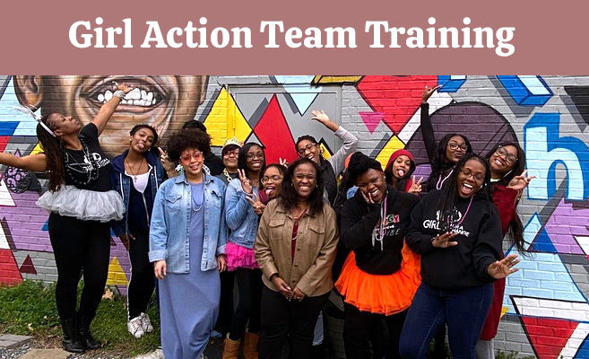 Girl Action Team Training, Coach and group of girls in front of a colorful mural